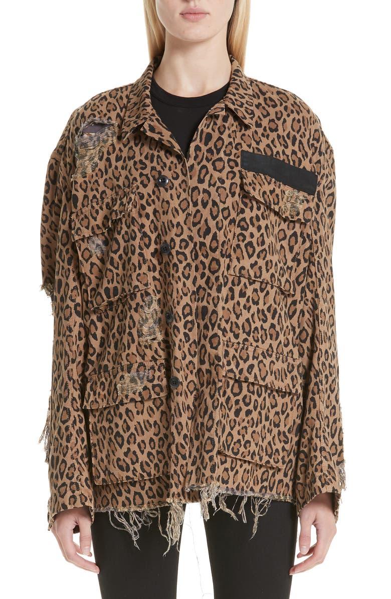 R13 Shredded Oversize Leopard Print Jacket, Main, color, LEOPARD