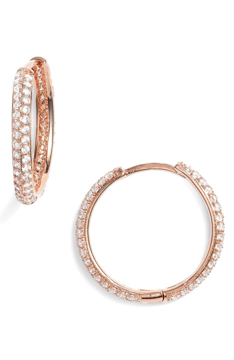 NORDSTROM Small Pavé Hoop Earrings, Main, color, CLEAR- ROSE GOLD