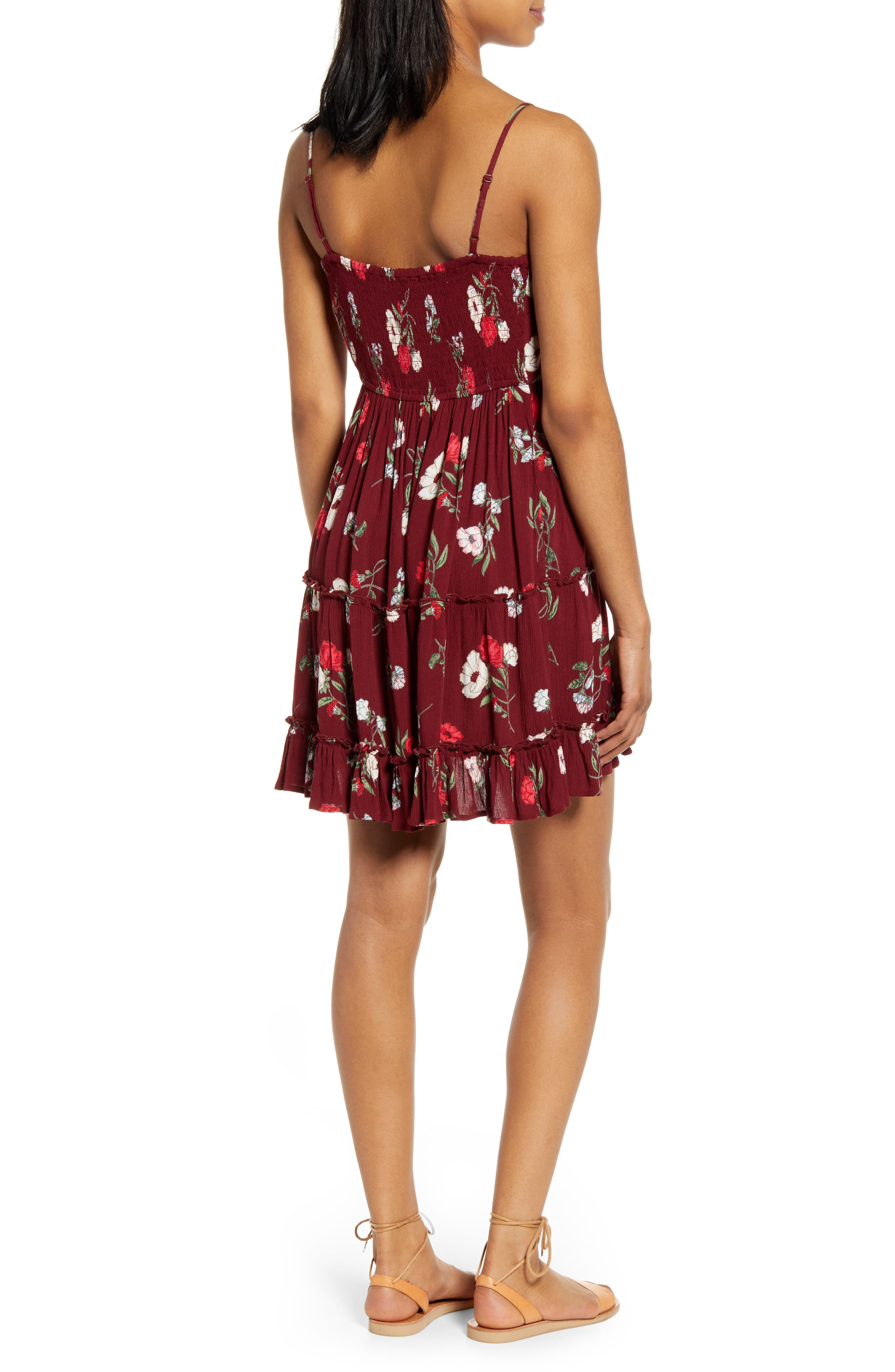 ,                             Floral Print Tie Front Dress,                             Alternate thumbnail 2, color,                             BURGUNDY/ RED
