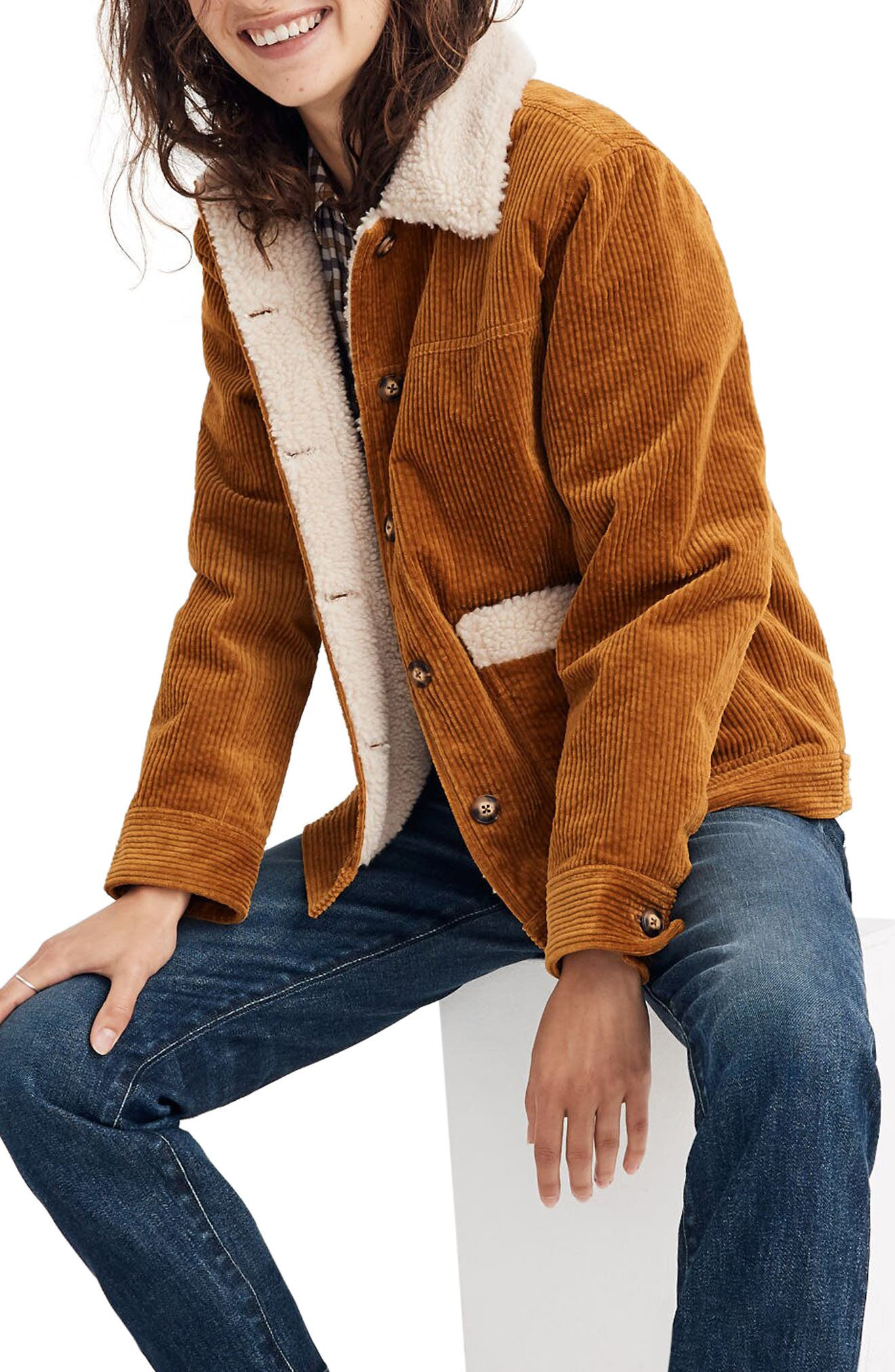70s Jackets & Hippie Vests, Ponchos Womens Madewell Faux Shearling Lined Corduroy Swing Chore Coat $168.00 AT vintagedancer.com