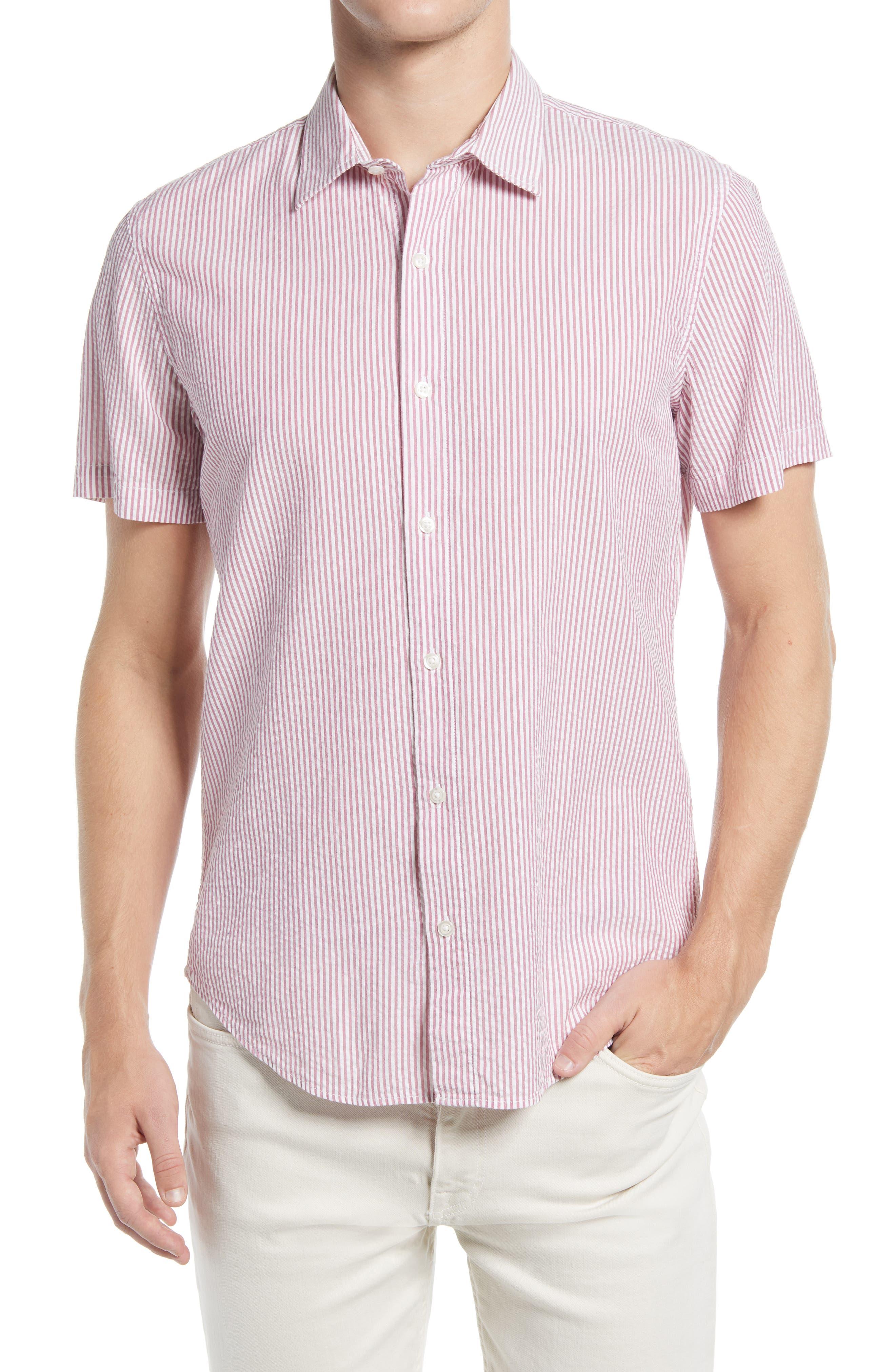 Riviera Slim Fit Stripe Short Sleeve Seersucker Button-Up Shirt