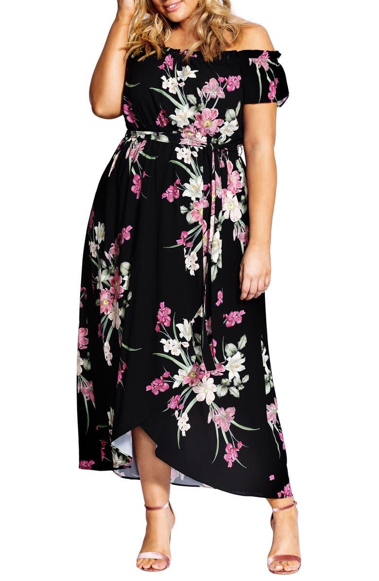 CITY CHIC Floral Maxi Dress, Main, color, LADY FLORAL