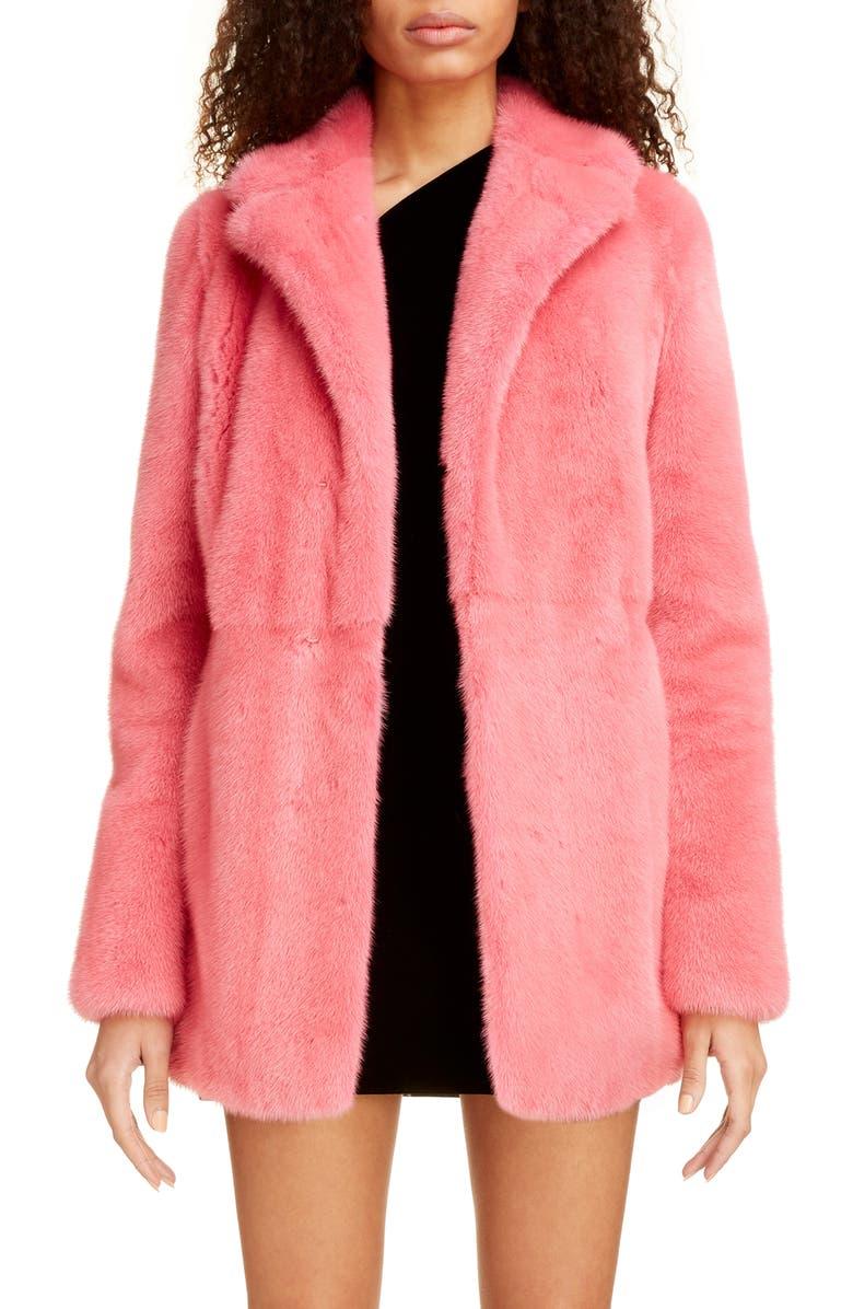 SAINT LAURENT Genuine Mink Fur Coat, Main, color, 683