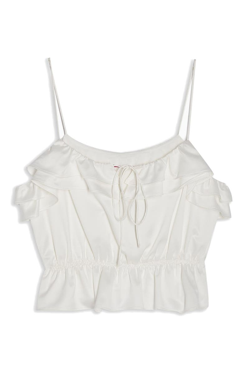 TOPSHOP Rochelle Ruffle Charmeuse Camisole, Main, color, IVORY