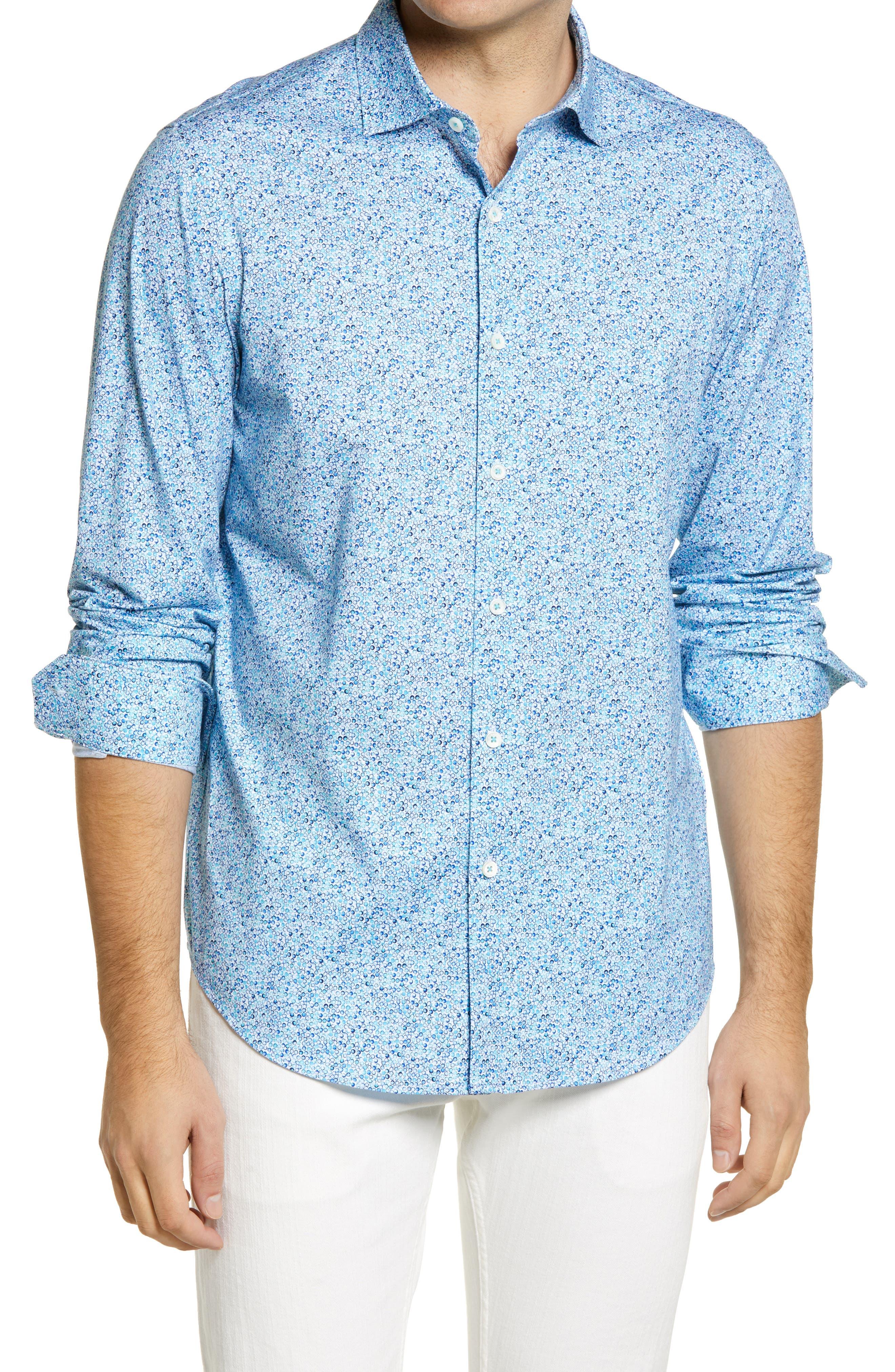 Ooohcotton Tech Abstract Knit Button-Up Shirt