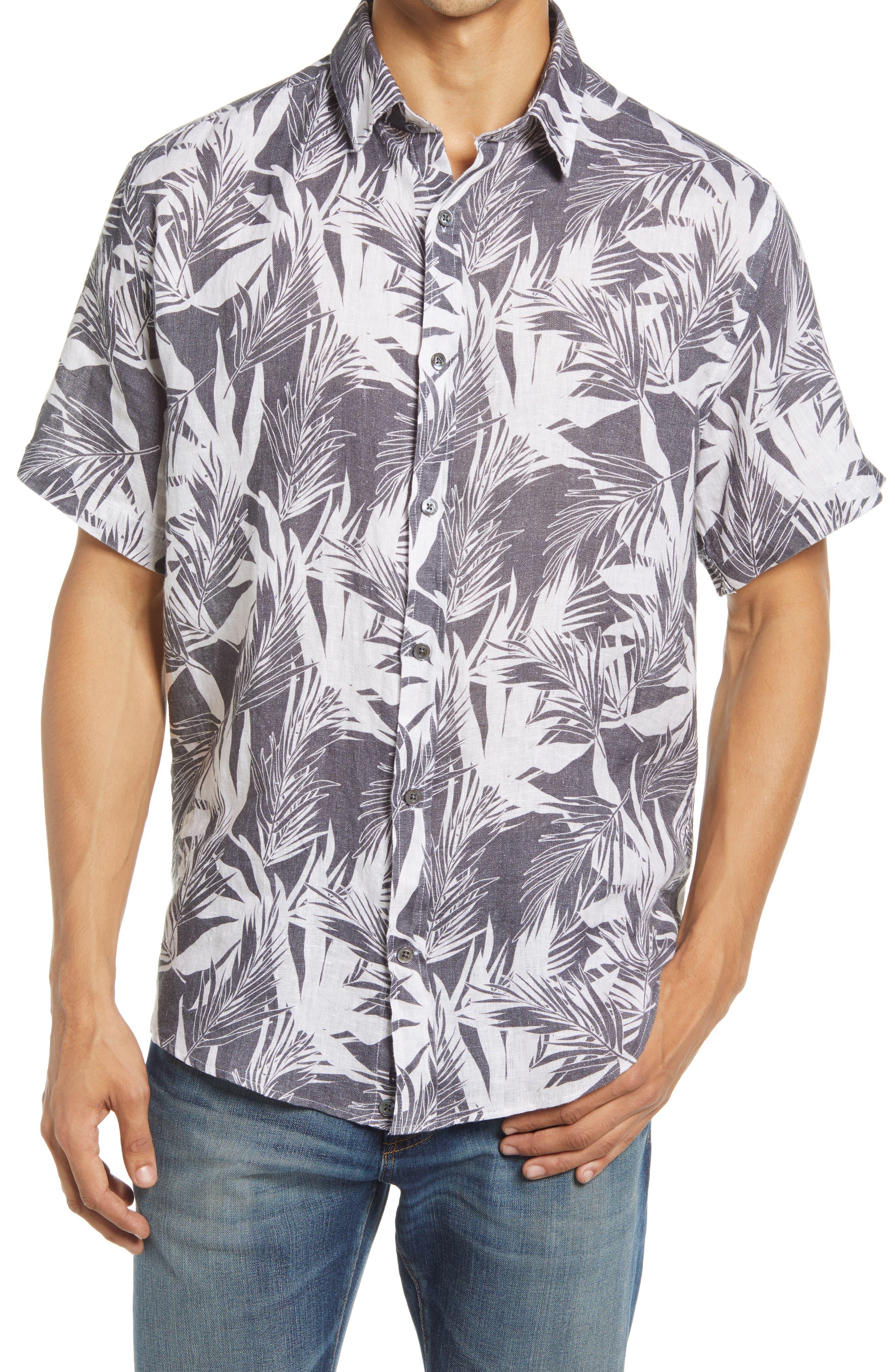 Regular Fit Palm Print Linen Short Sleeve Button-Up Shirt