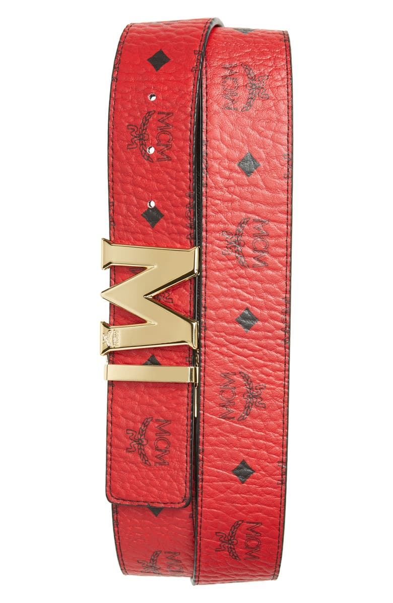 MCM Reversible Signature Leather Belt, Main, color, RUBY RED
