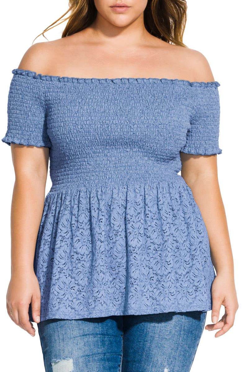 CITY CHIC Smocked Off the Shoulder Lace Peplum Top, Main, color, CORNFLOWER