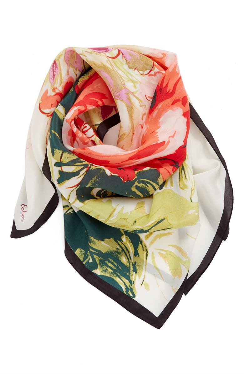 ECHO Floral Square Silk Scarf, Main, color, 001