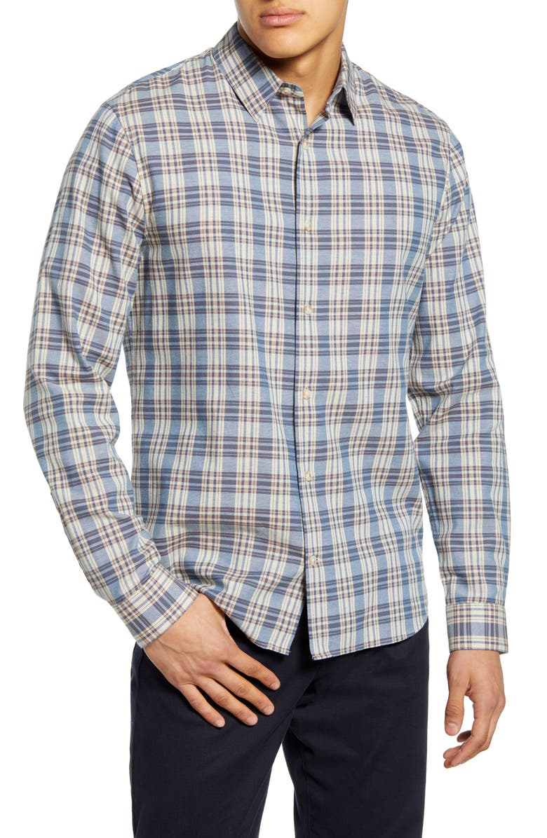 VINCE Classic Fit Tartan Plaid Button-Up Shirt, Main, color, WINDMILL