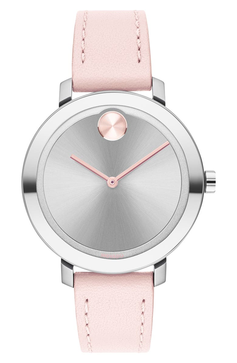 MOVADO Bold Leather Strap Watch, 34mm, Main, color, PINK/ SILVER