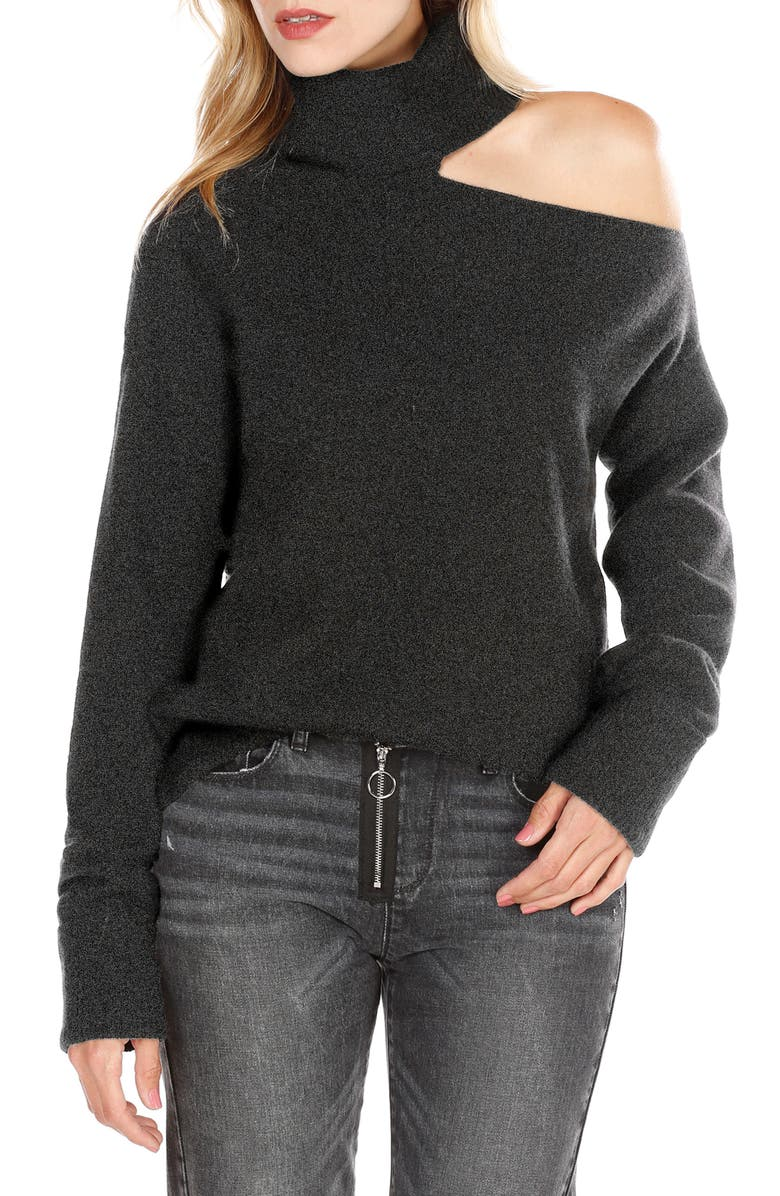 PAIGE Raundi Cutout Shoulder Sweater, Main, color, 001