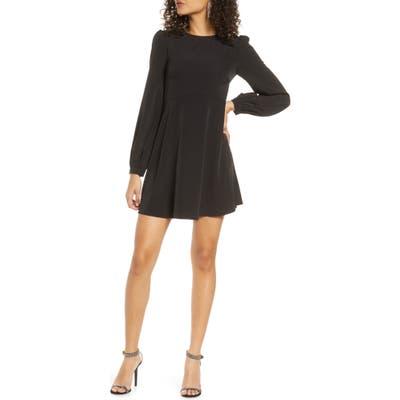 Lulus Follow Me Long Sleeve Minidress, Black
