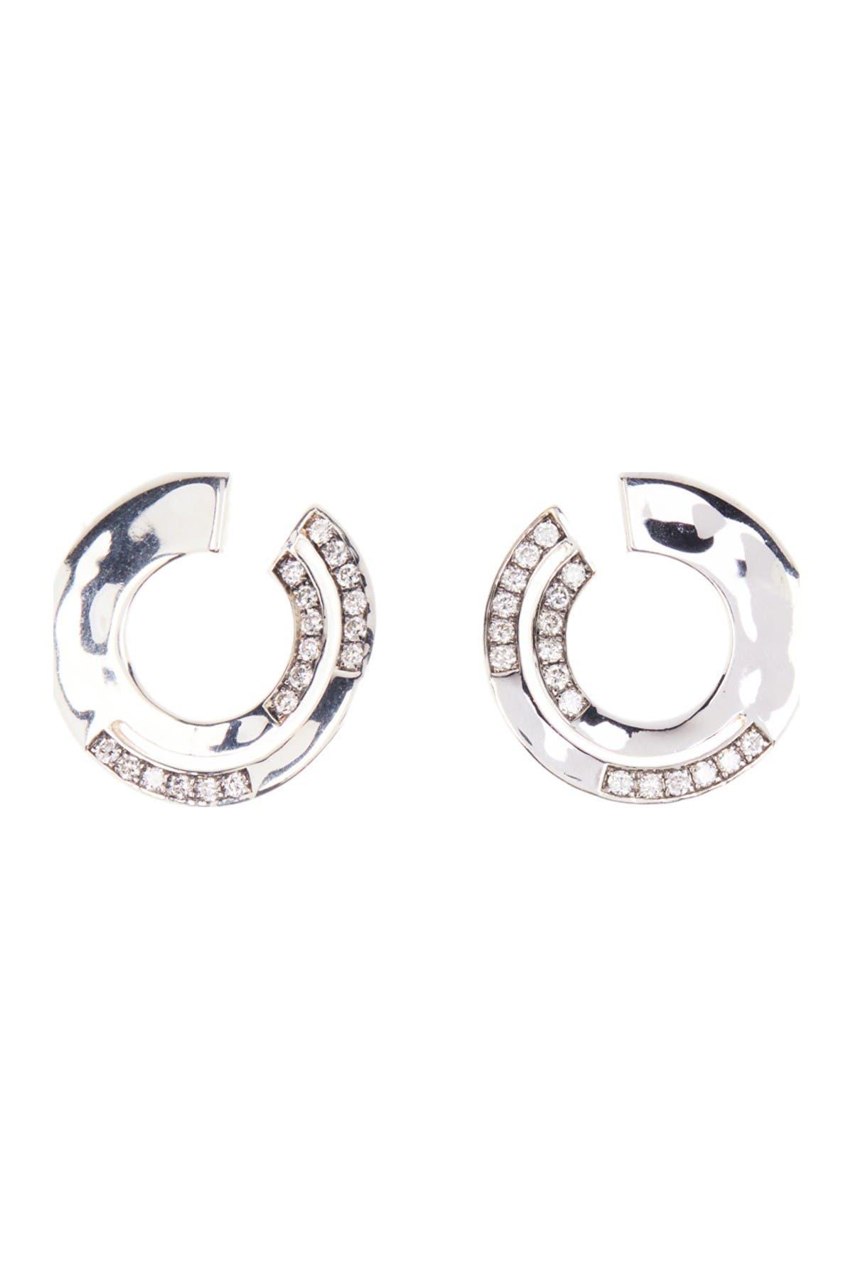 Image of Ippolita Prisma Silver Pave Diamond Circle Stud Earrings - 0.45 ctw