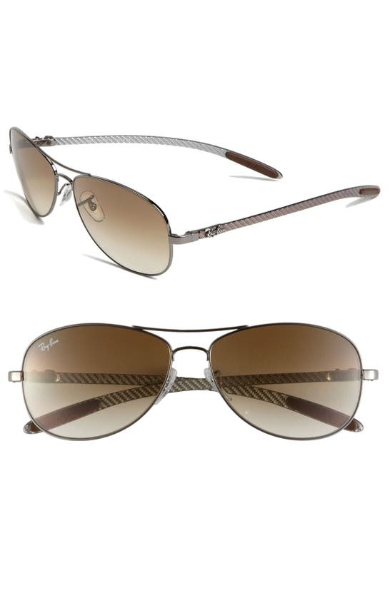 Ray Ban 'tech' 59mm Aviator Sunglasses In Gunmetal/ Gradient Brown