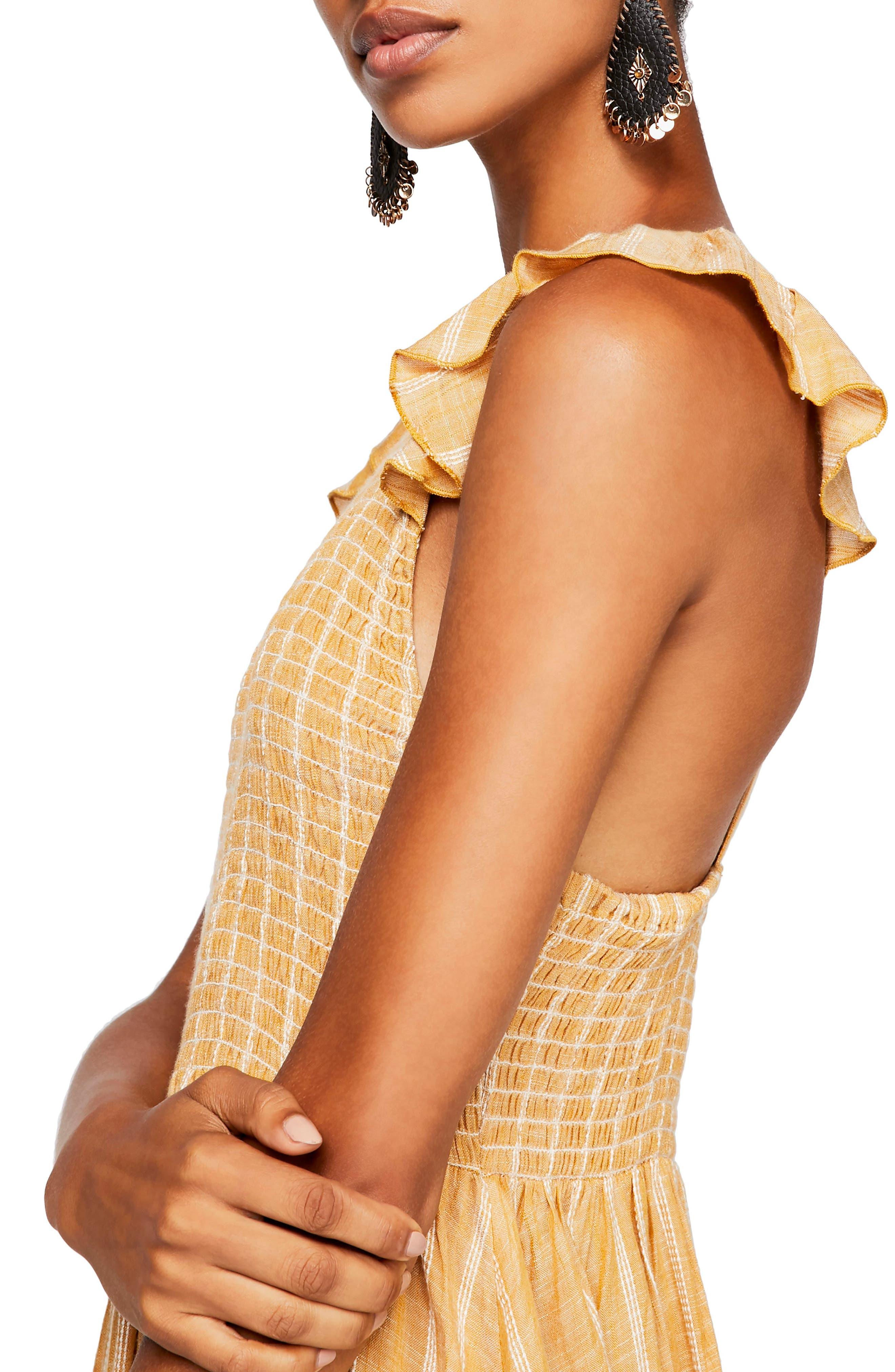 ,                             Butterflies Chambray Midi Dress,                             Alternate thumbnail 5, color,                             GOLD