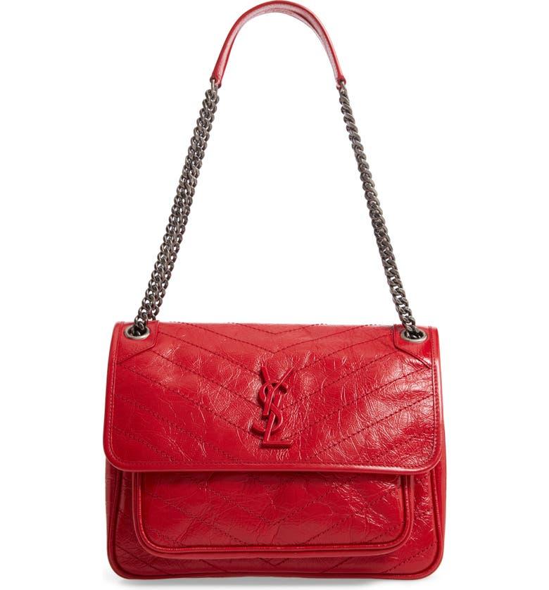 SAINT LAURENT Medium Niki Leather Shoulder Bag, Main, color, ROUGE EROS