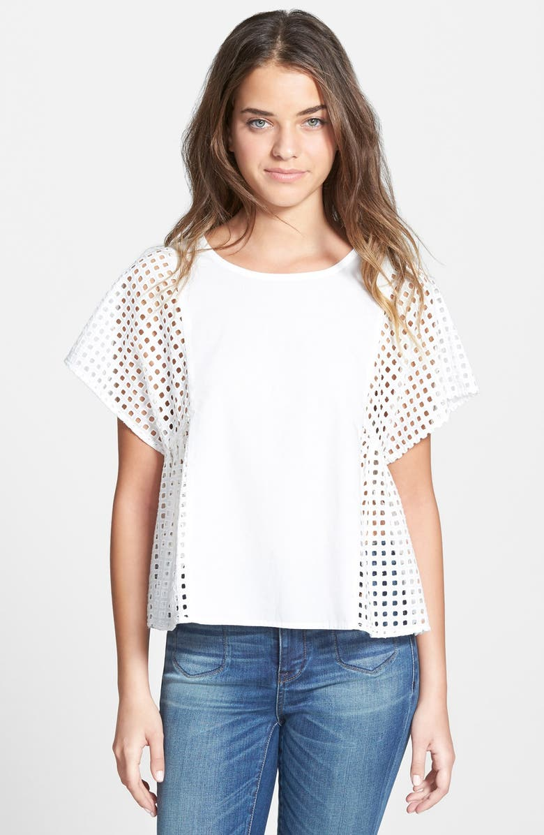 MADEWELL Perforated Boxy Top, Main, color, 100