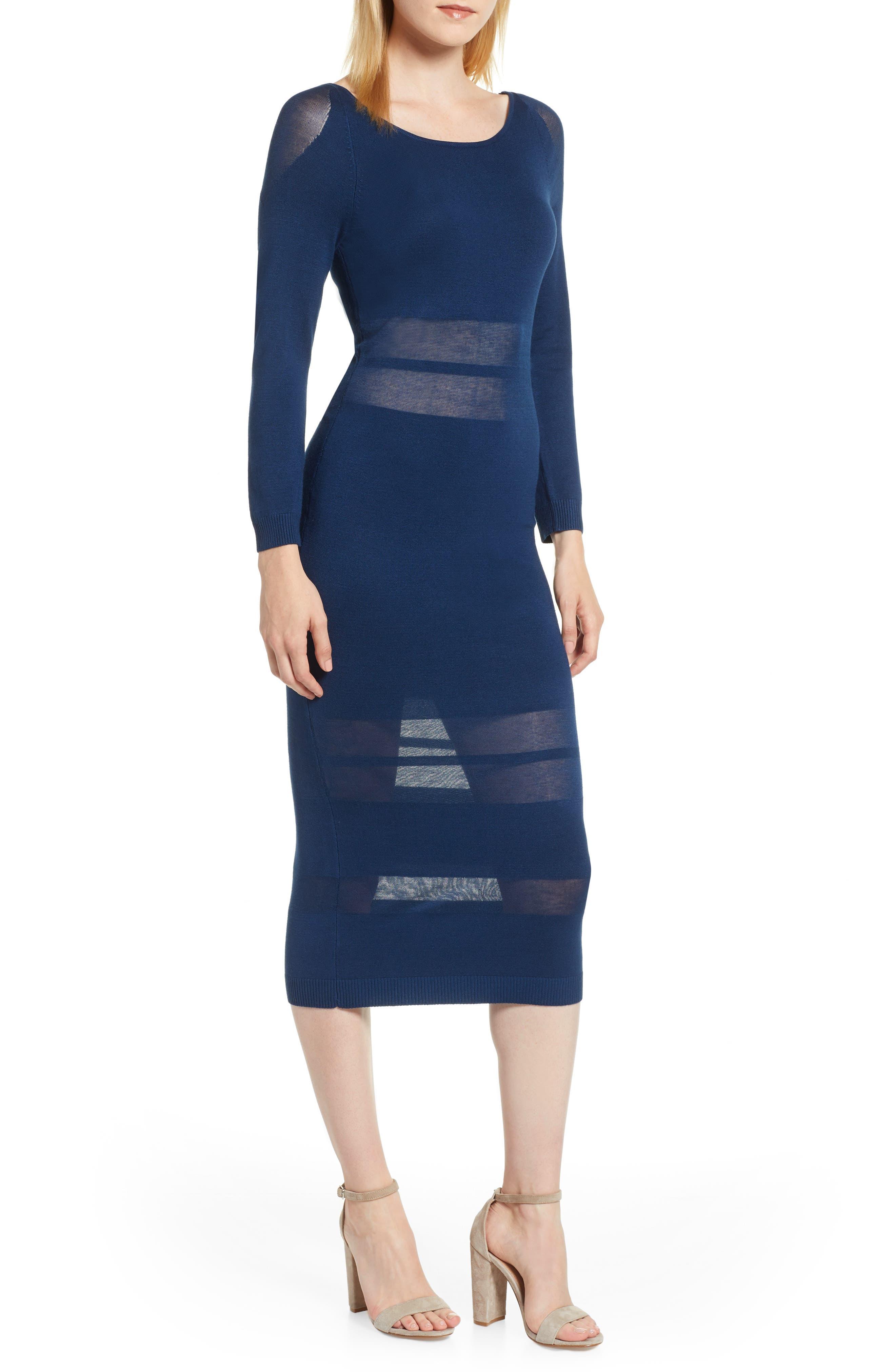 Sentimental Ny Illusion Stripe Midi Dress, Blue