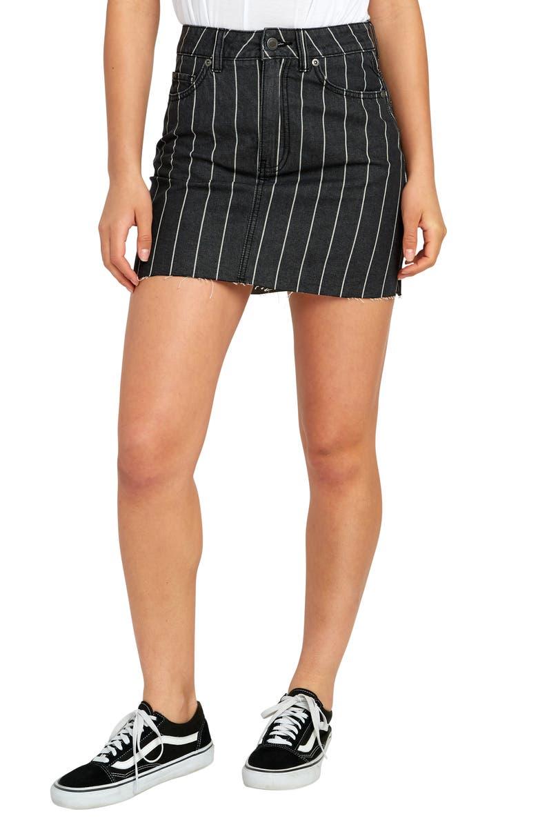 RVCA Rowdy Pinstripe Denim Miniskirt, Main, color, 001