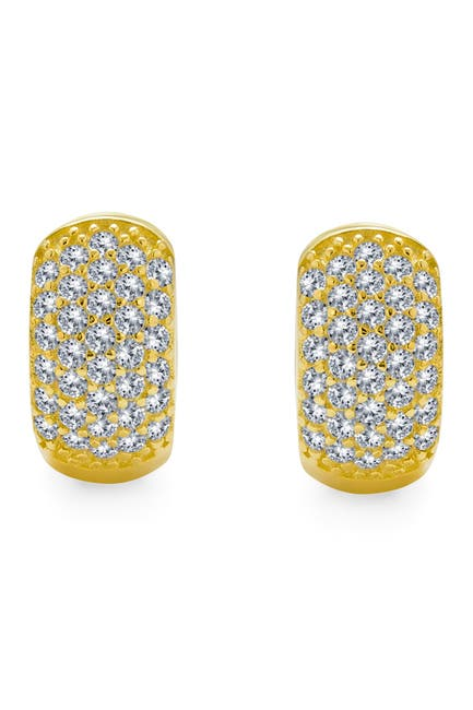 Image of Bling Jewelry Yellow Gold Plated Silver CZ Pave Huggie Hoop Earrings