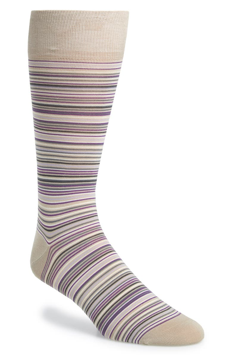 COLE HAAN Multistripe Crew Socks, Main, color, TAN