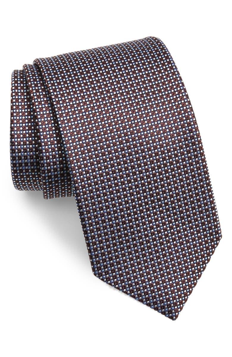 ETON Geometric Silk Tie, Main, color, OFFWHITE/ BROWN