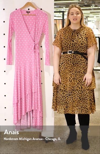 Elodie Ruffle Hem Long Sleeve Wrap High/Low Dress, sales video thumbnail