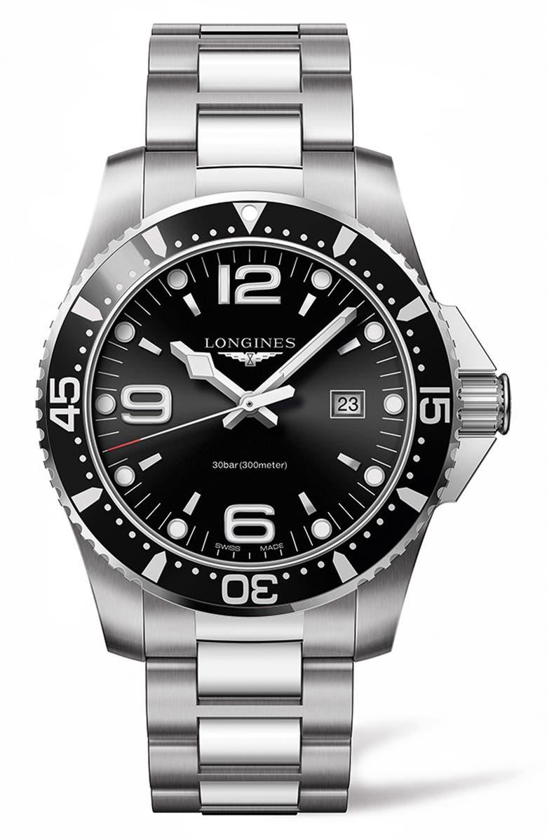 LONGINES HydroConquest Bracelet Watch, 44mm, Main, color, SILVER/ BLACK/ SILVER