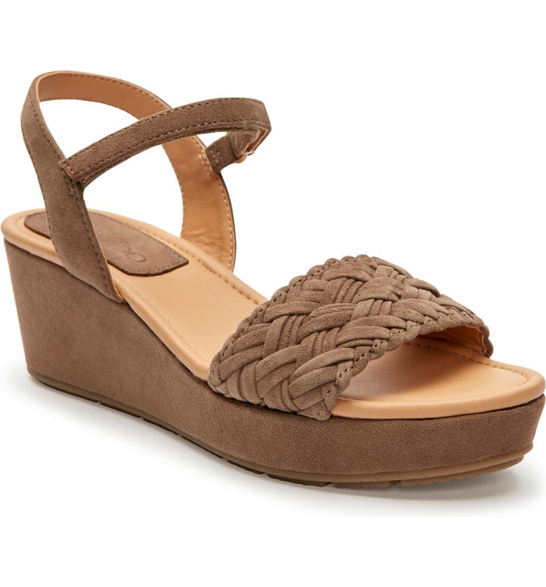 ME TOO Abella Wedge Sandal, Main, color, DELICATE BROWN SUEDE