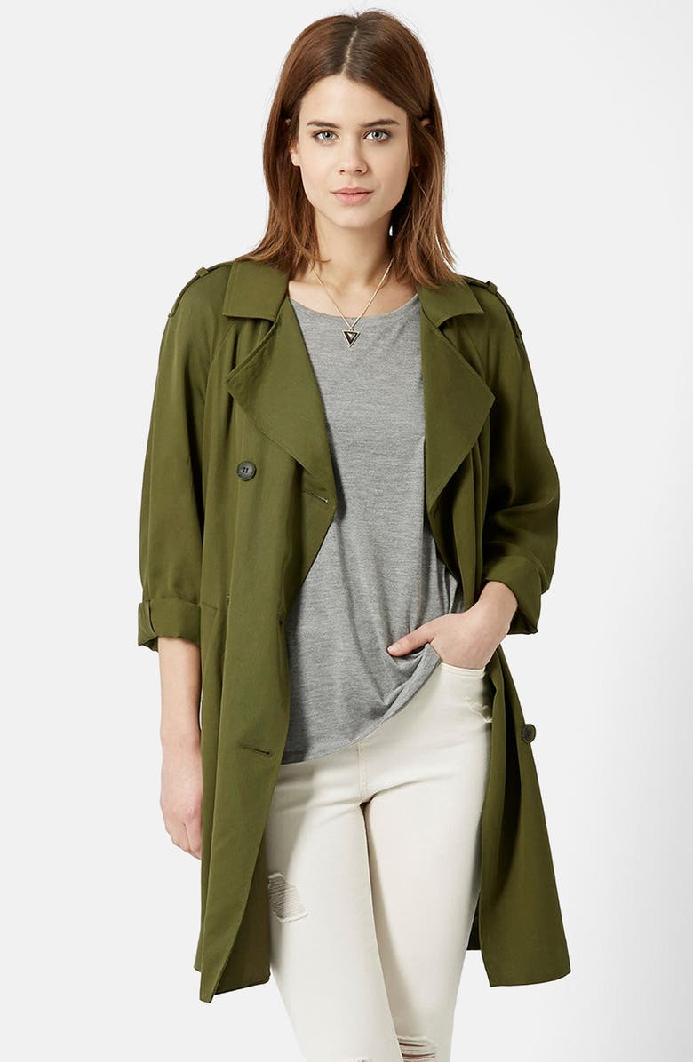 TOPSHOP Double Breasted Long Coat, Main, color, 300
