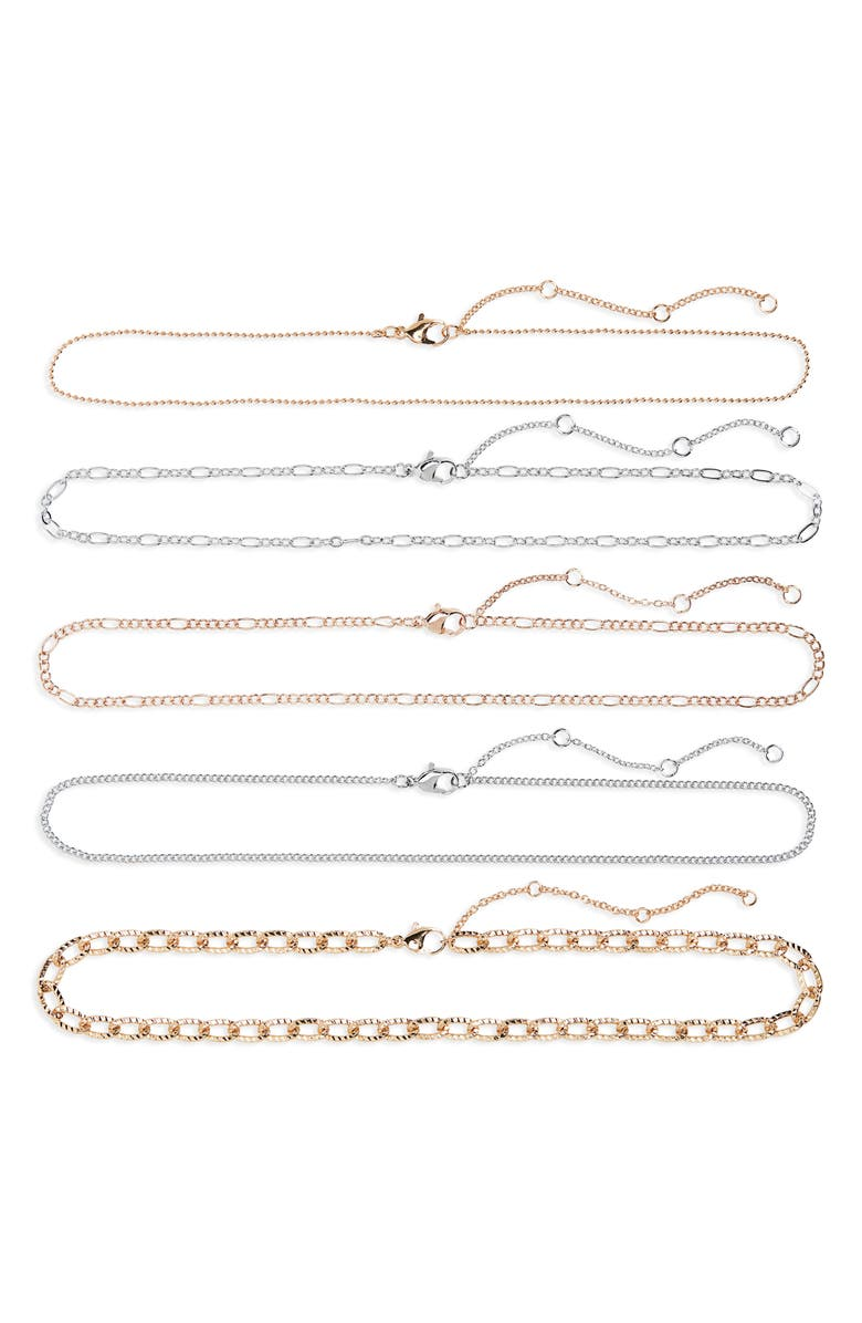 BP. Set of 5 Chain Link Necklaces, Main, color, GOLD- ROSEGOLD- RHODIUM