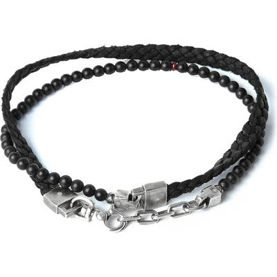 Title Of Work Onyx & Braided Leather Bracelet