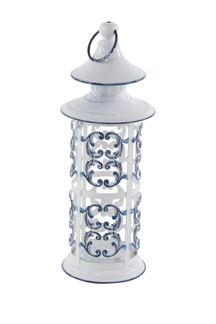"""Image of Willow Row Large Cylindrical French Country Blue & White Metal Lantern w/ Finial and Ring - 7"""" x 20"""""""