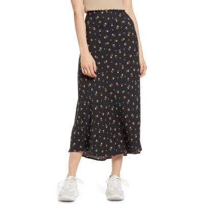 Love, Fire Print Midi Skirt, Black