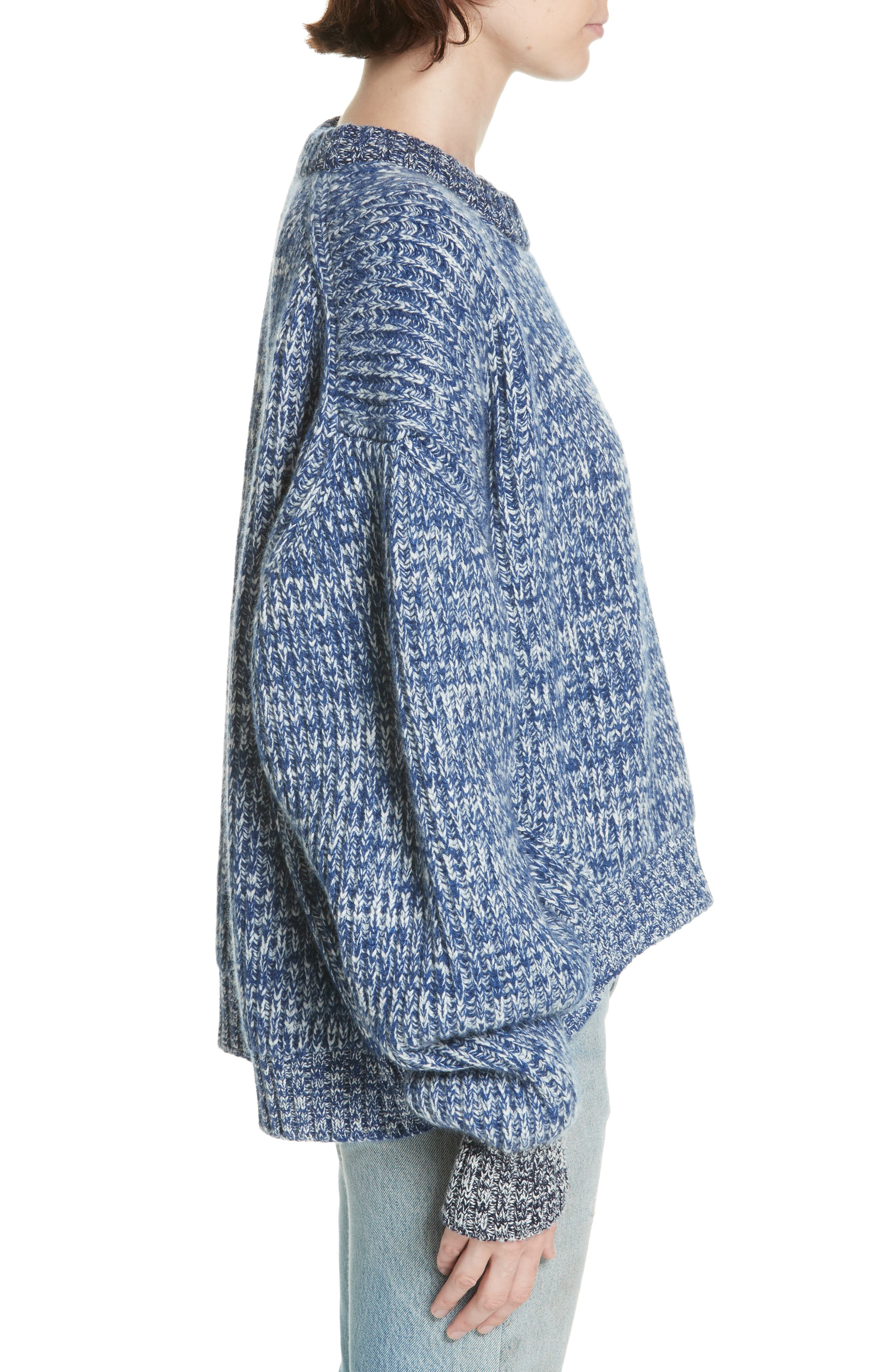 ,                             Mavie Chunky Wool & Cashmere Sweater,                             Alternate thumbnail 3, color,                             BLUE MARL