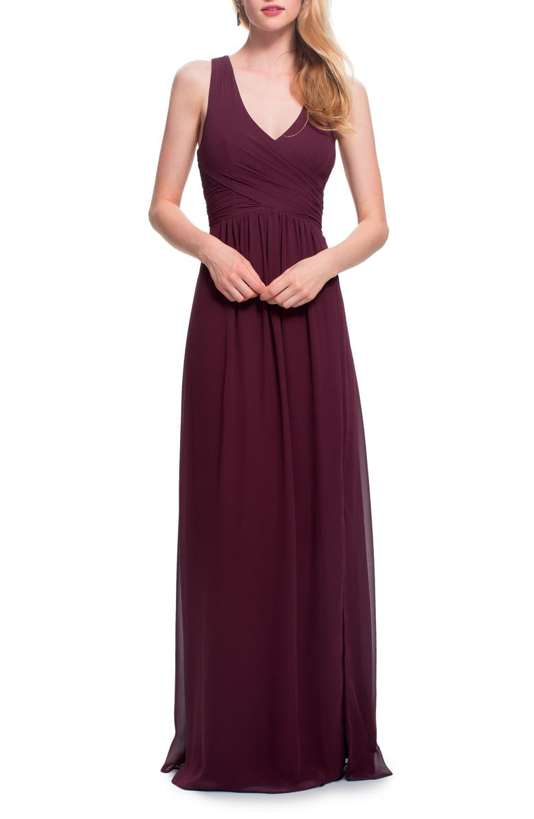 #LEVKOFF Back Cutout Chiffon Gown, Main, color, WINE