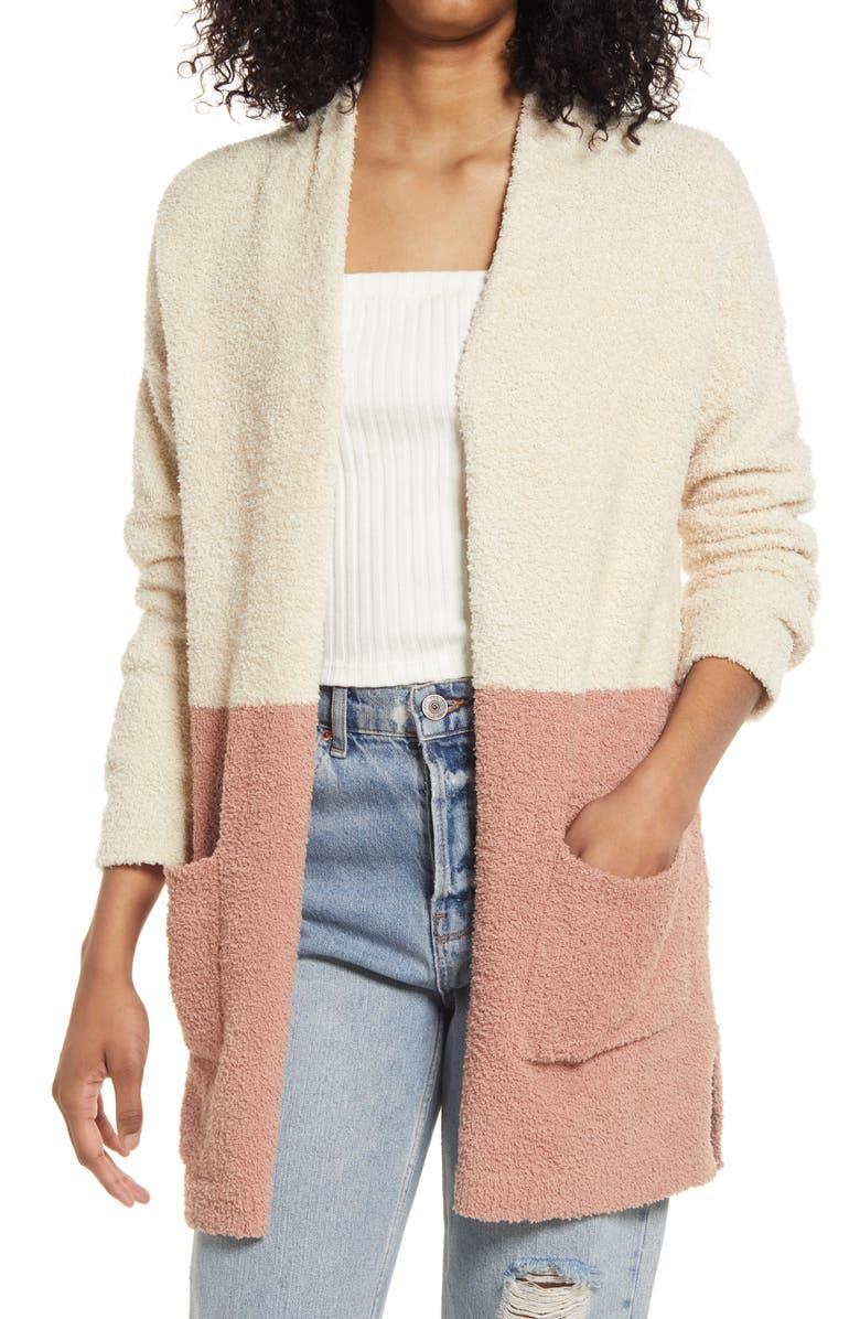 THREAD & SUPPLY Cozy Color Block Cardigan, Main, color, CINNABAR/TAUPE