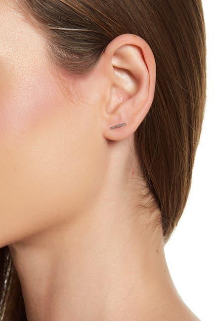Image of Candela 14K White Gold Bar Stud Earrings
