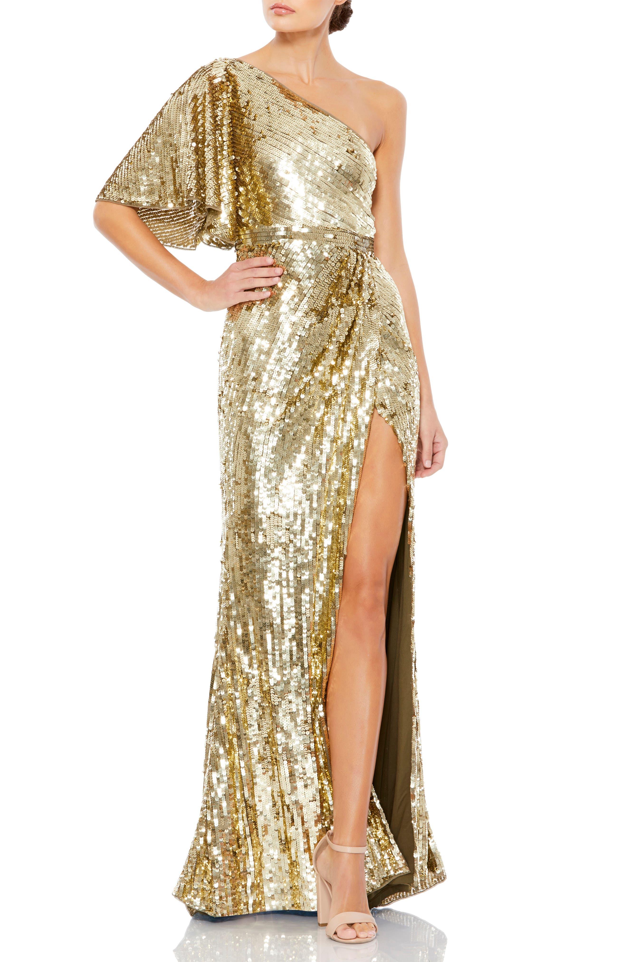 70s Sequin Dresses, Disco Dresses Womens MAC Duggal One-Shoulder Sequin Column Gown Size 12 - Metallic $598.00 AT vintagedancer.com