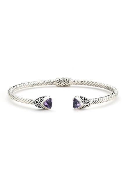 Image of Samuel B Jewelry Sterling Silver Amethyst Milgrain Bangle Bracelet
