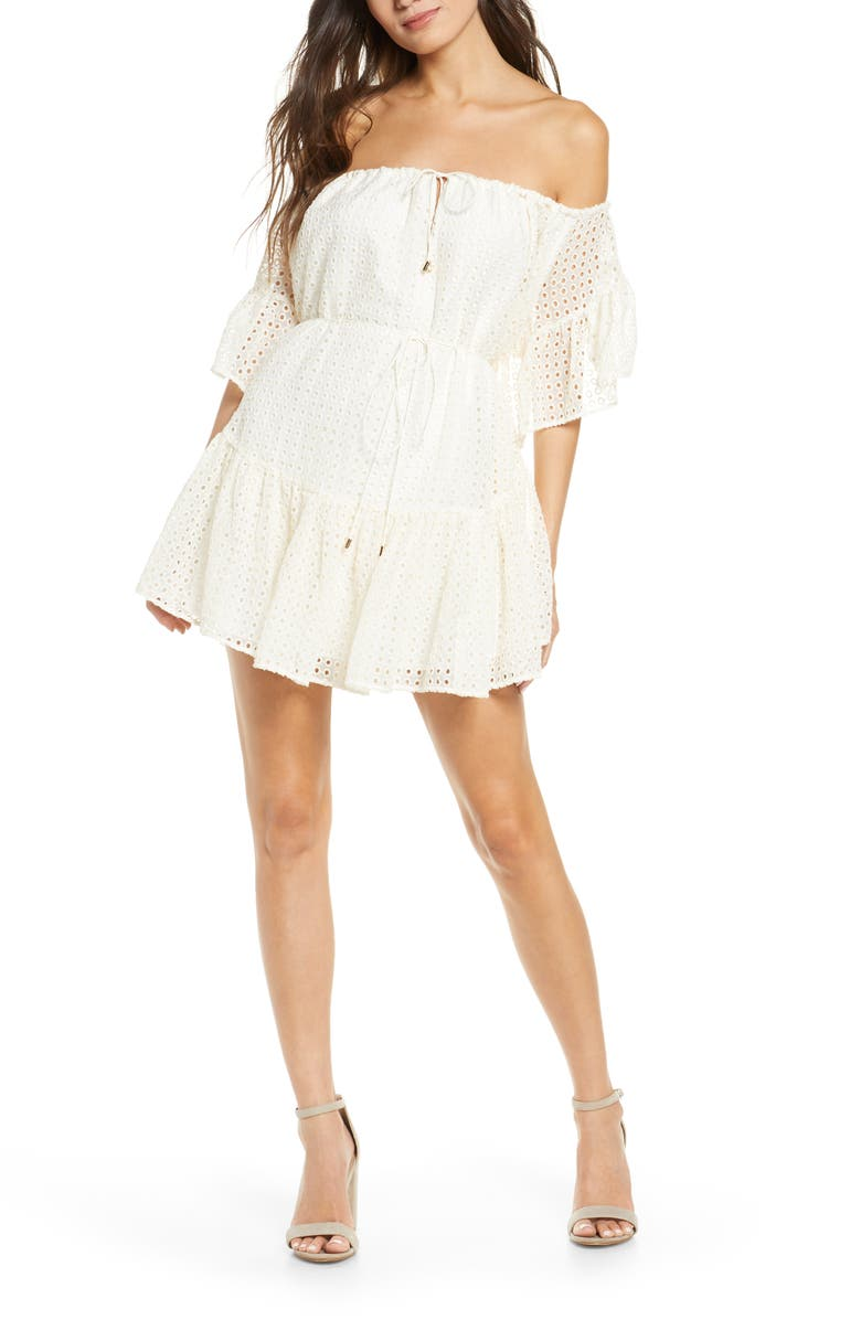 SIGNIFICANT OTHER Nora Off the Shoulder Eyelet Minidress, Main, color, CREAM