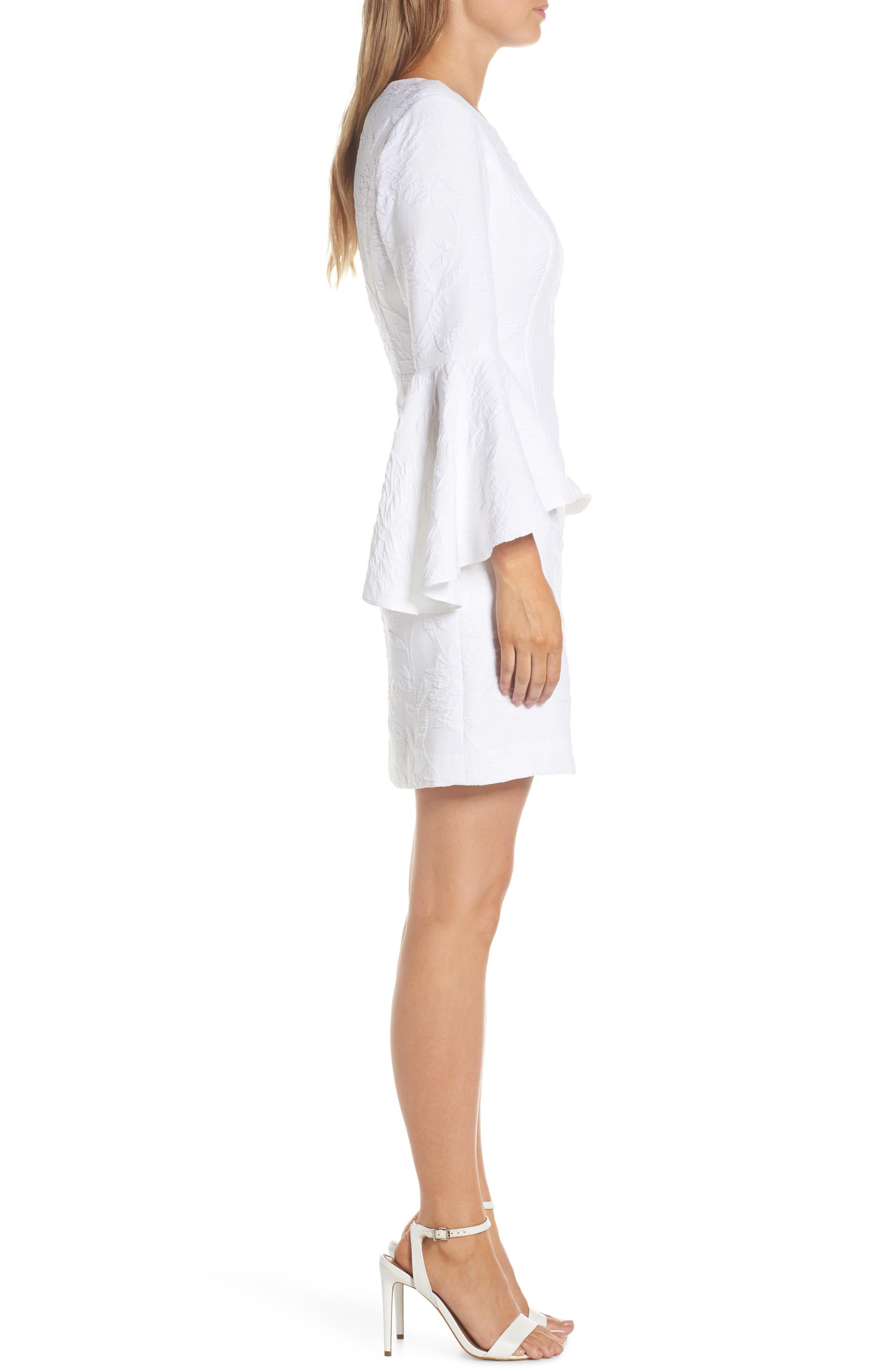 ,                             Kayla Bell Sleeve Dress,                             Alternate thumbnail 4, color,                             RESORT WHITE CALIENTE PUC