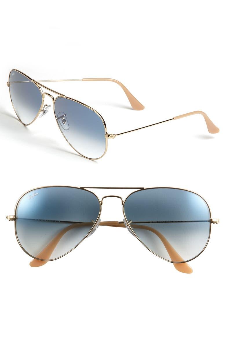RAY-BAN Standard Original 58mm Aviator Sunglasses, Main, color, GOLD/ BLUE GRADIENT