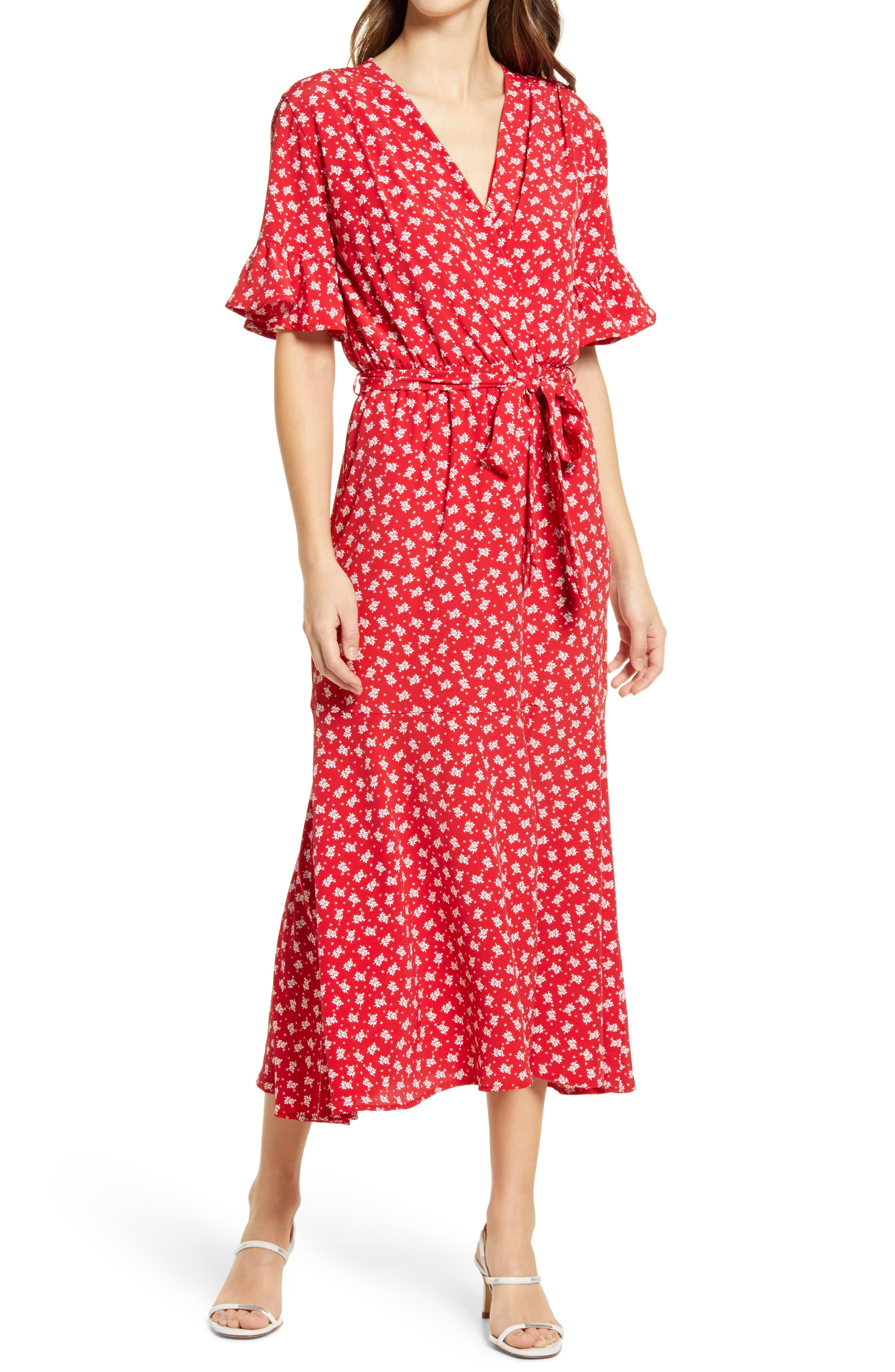 Jura Ruffle Sleeve Midi Dress