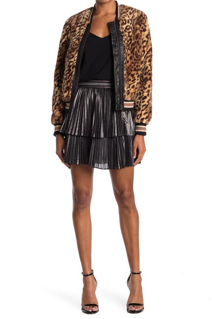 Image of Bailey 44 Colby Tiered Metallic Pleated Mini Skirt
