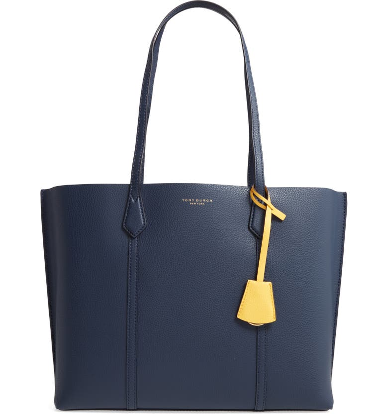 TORY BURCH Perry Leather Tote, Main, color, ROYAL NAVY