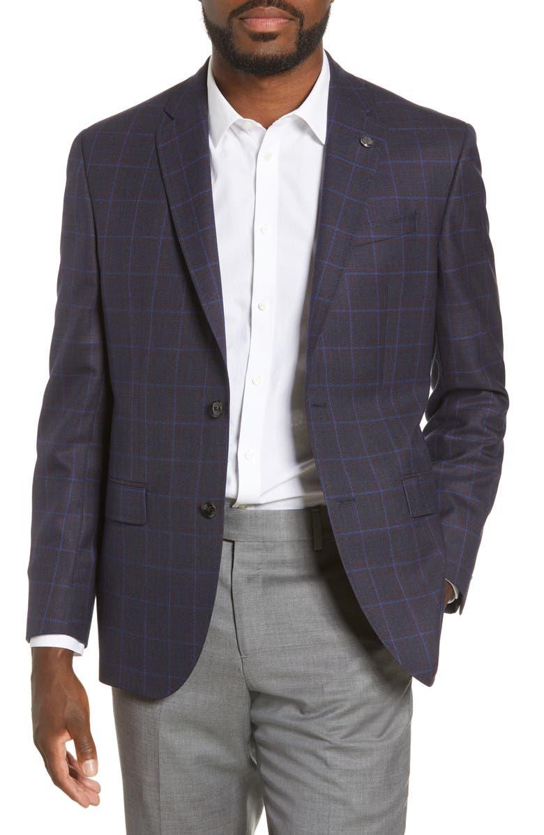 TED BAKER LONDON Jay Windowpane Wool Sport Coat, Main, color, PLUM