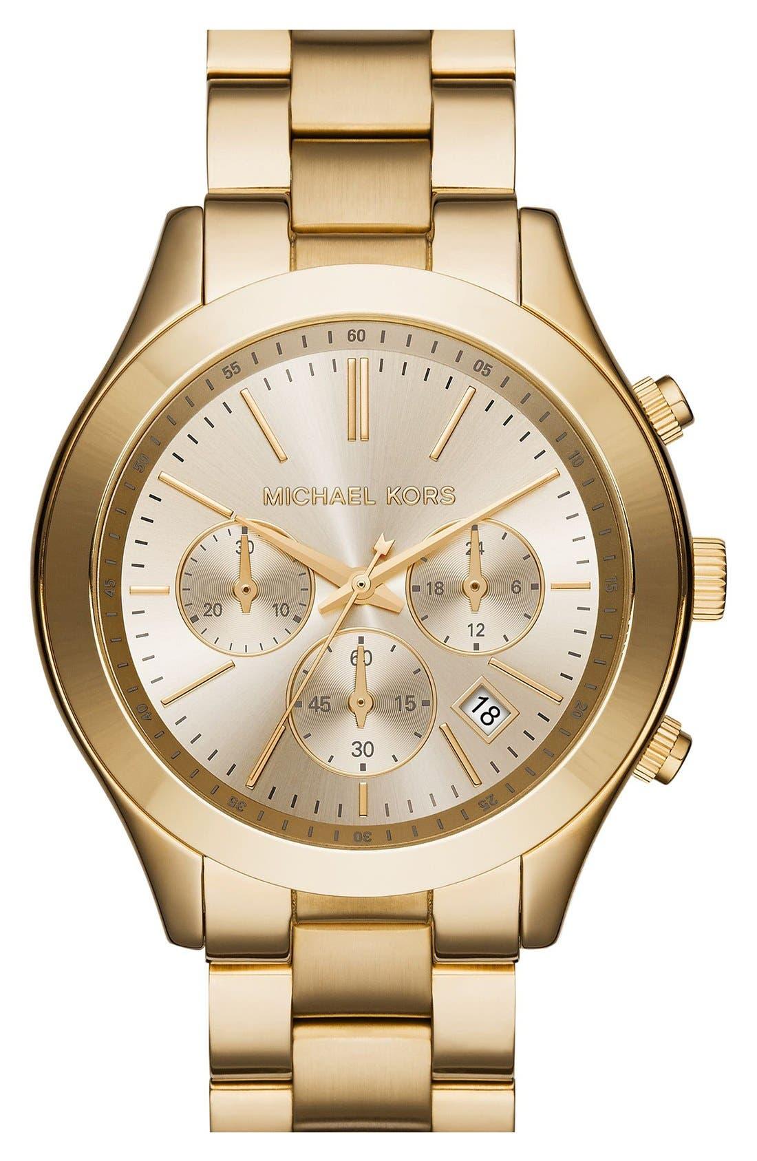 ,                             Michael Kors 'Slim Runway' Chronograph Bracelet Watch, 42mm,                             Main thumbnail 12, color,                             710