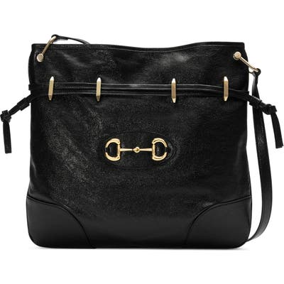 Gucci Large 1955 Horsebit Leather Messenger Bag - Black
